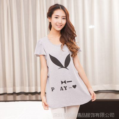 实拍2014韩版夏季新款圆领印花孕妇T恤衫哺乳衣t恤月子服外出服
