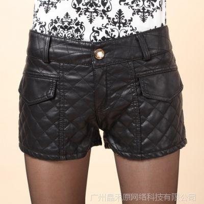 2014冬季新款时尚修身百搭女式中腰短裤 韩版加厚保暖皮靴裤3331