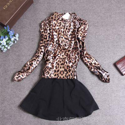 YY港产真丝款女装爆款豹纹拼接假两件套抽皱袖拼接款春装连衣裙