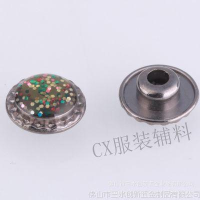 厂家直销电镀合金撞钉可按客户logo定制 荧光滴胶女装合金口袋钉