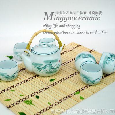 供应景德镇日用陶瓷水墨虾茶具套装 骨瓷提梁大茶壶罗汉茶杯4278#