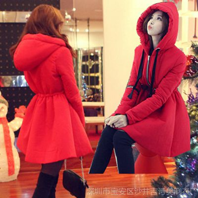2014秋冬新款女装韩版红色中长款加厚系带连帽羽绒服外套一件代发