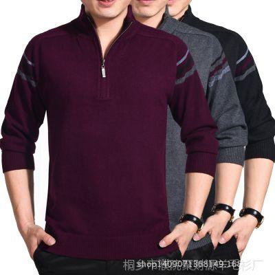 厂家直销秋冬男装新款半拉链时尚羊绒衫男士套头羊毛衫针织毛衣
