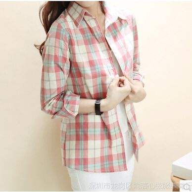 2014韩版修身格子衬衫女长袖格子衬衣学院风小清新格纹格子衫