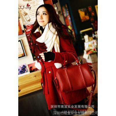 菁菁秀2013秋冬女装欧美新款漫步雪景红色毛呢料系带大衣外套