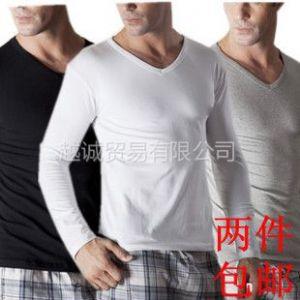 供应纯棉紧身男士内衣 薄款莫代尔低领打底衫男秋衣长袖上衣