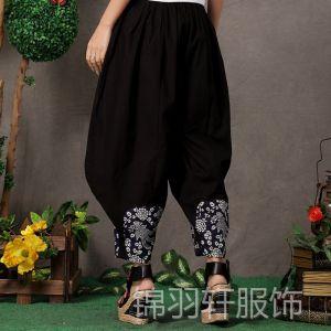 供应民族风新款大码女装一件代发免费代理加盟亚麻绣花灯笼裤3103