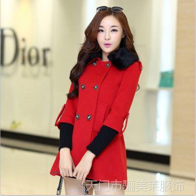 实拍 2014秋装新款毛领女装红色呢大衣中长款毛呢外套9980#