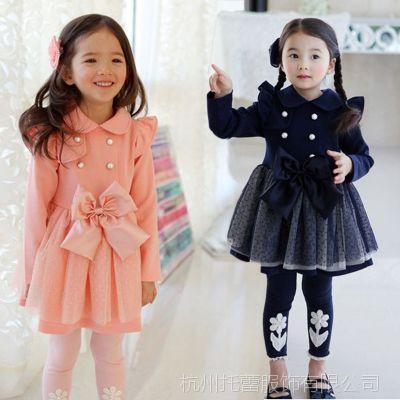 2014秋季新款童装 韩版淑女双排扣风衣 女童风衣 厂家直销