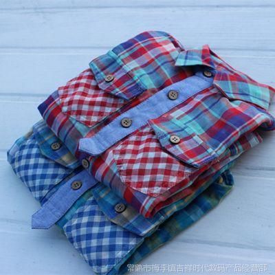 外贸原单日单儿童男童女童长袖衬衫双面棉纱面料可挽边