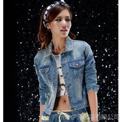 厂家直销 2014春装新 款韩版牛仔女外套 女牛仔上衣短外套