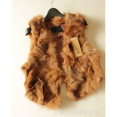 批发韩版外贸原单女装皮草拼接兔毛短裤女式马甲背心外套