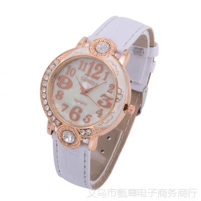 韩版时尚镶钻女表 PU亮皮表带 女款休闲手表 石英表现货批发