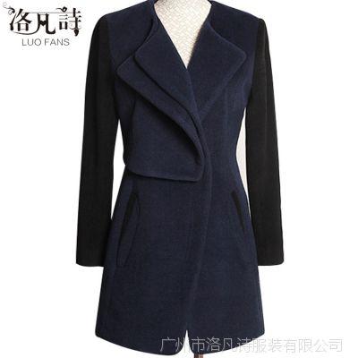 2014年新款搭配厂家正品韩版现货藏蓝冬季风衣大衣外套大衣1292