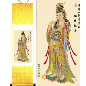 供应丝绸画杨枝观音 织锦画 工艺画