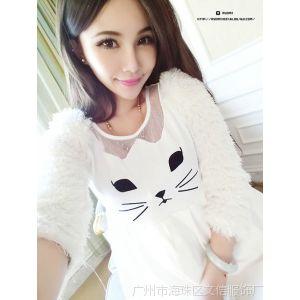 供应14秋冬新款韩版女装 甜美可爱猫咪贴花毛绒绒长袖修身连衣裙B050