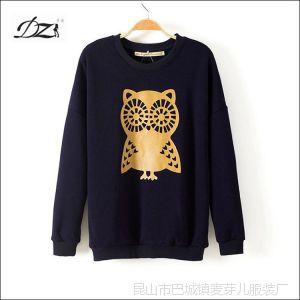 供应DZ 14欧美风 猫头鹰蝙蝠袖加绒加厚保暖卫衣打底衫女装批发