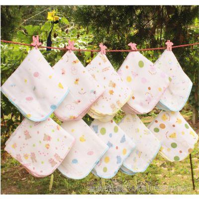 P29 西松屋纱布口水巾手帕婴儿纯棉6层印花纱布 高密度款一件代发