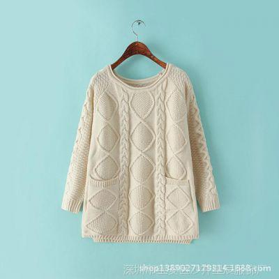 冬新品套头毛衣女韩版外穿宽松大款中长款学院风麻花毛衣潮A31-9