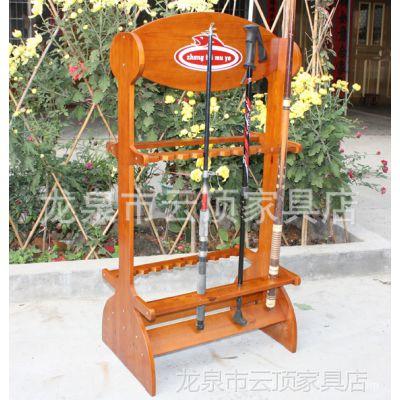 双耳式木制鱼竿展示架 实木鱼竿摆放架 外贸渔具用品套装厂家