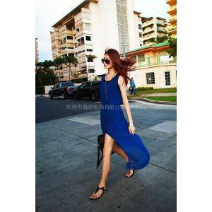 供应品牌加盟20922新款夏装韩国SZ时尚欧美大牌蓝色雪纺