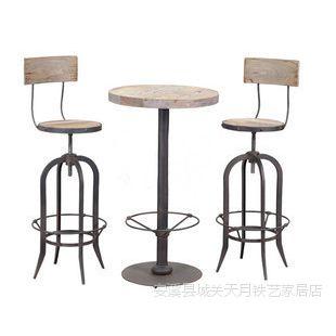 美式法式LOFT混搭出口做旧铁艺吧台桌椅 实木调节铁艺桌椅 复古