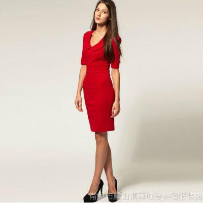 2012秋季新款as同款娃娃领正红色中袖修身显瘦连衣裙35