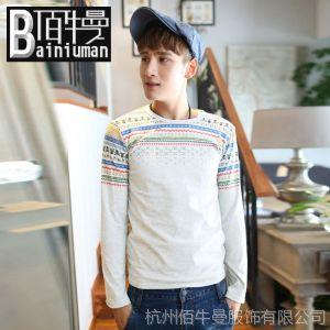 供应2013 新款长袖T恤  骷髅头 韩版潮流打底衫 男