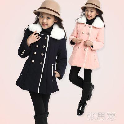 韩版呢子大衣毛领可拆卸女童风衣 童装一件代发 免费装修代理代销