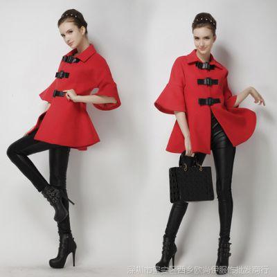 2014秋冬新款女装欧美大牌蝙蝠袖红色斗篷毛呢外套中长款大衣女款