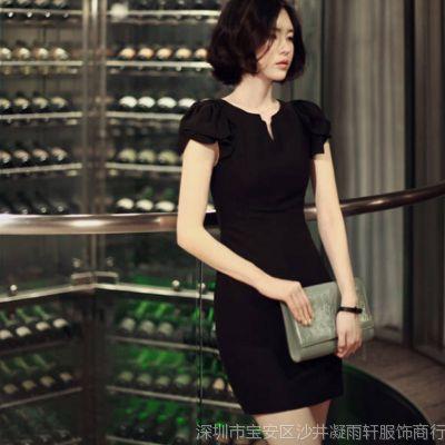 供应2014夏装V领子 黑色显瘦雪纺连衣裙 性感包臀 826