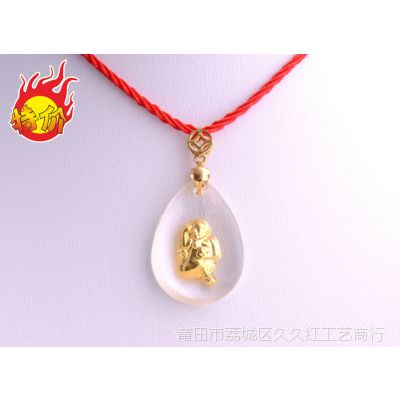 晶美金 水晶镶金淘宝货源999千足金 12生肖猴子吊坠挂件厂家直销