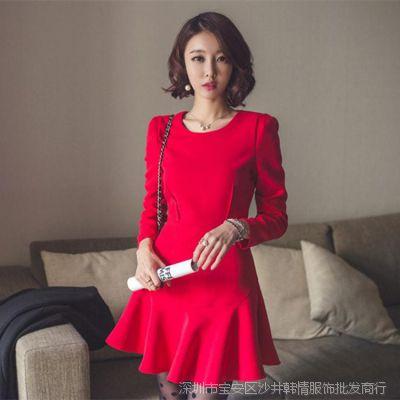 春装新款韩版名媛修身显瘦气质鱼尾连衣裙红色打底裙