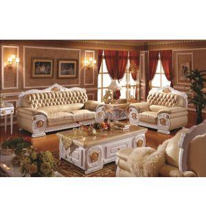 厂家供应高档欧式新古典白色亮光真皮沙发W315S#,实木茶几