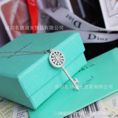 925银 太阳花钥匙项链锁骨链 珠宝级镶嵌工艺 韩国高端定制