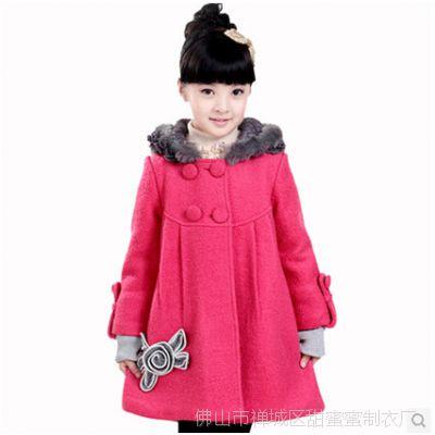 2014冬季韩版童装女童外套 夹棉双排扣毛领女童呢子风衣