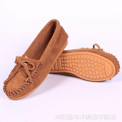 新款女单鞋平跟豆豆鞋女真皮磨砂休闲平底鞋大码女鞋妈妈鞋子包邮