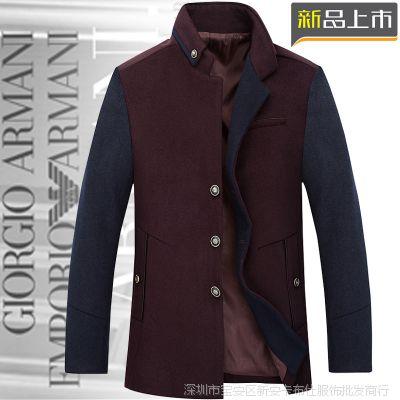 2014品牌男装秋冬新款男士外套 羊毛呢拼接潮流商务男式风衣批发