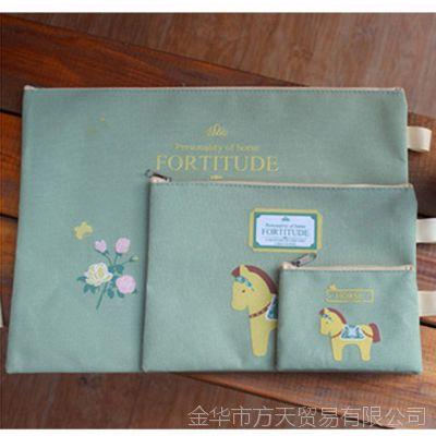韩国文具 SV13-597北村骑乘牛津布拉链带/文件袋/收纳袋4847