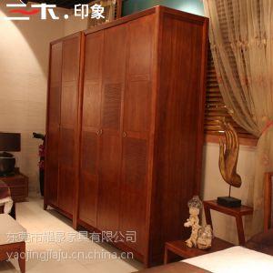 供应三木印象东南亚风格木柜简约槟榔色滑门衣柜实木四门衣柜组合简易