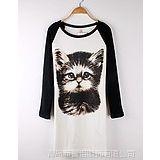 供应zava 秋装韩版女装显瘦长袖T恤修身长款女士潮 猫咪 上衣打底衫