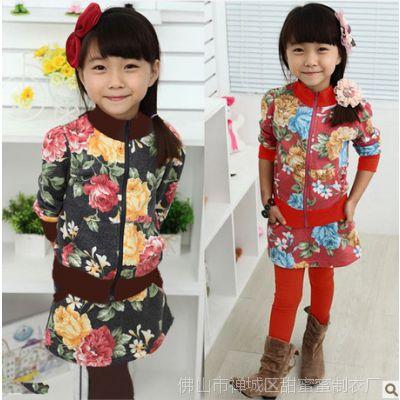 女童秋款裙套装 碎花裙套装 韩版时尚修身套装厂家低价直销两件套
