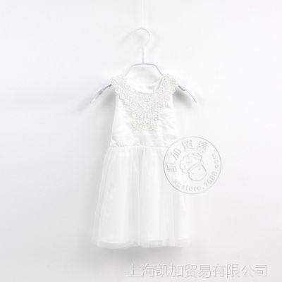 欧美原单 14夏款 纯可爱白色小仙女 双层纱裙 连衣裙女孩裙子0.11