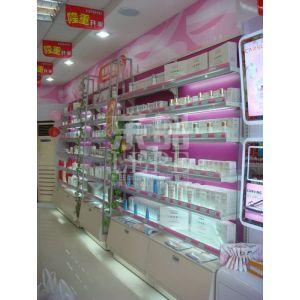 供应供应乐品精品玫红色木背板货架化妆品展示架