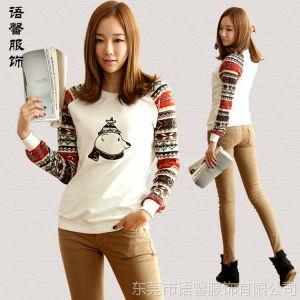 供应2014春装新款时尚韩国女式圆领印花撞色 休闲T恤 打底衫