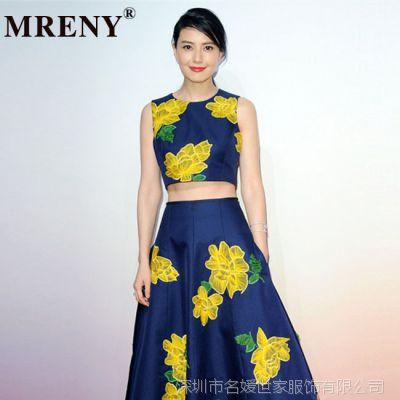 2015春季新款高圆圆明星同款连衣裙 欧美风深蓝花朵背心长裙套装