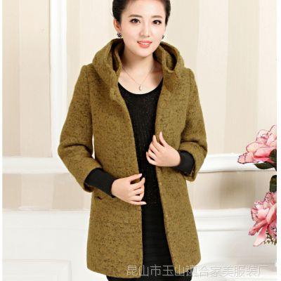 冬季新款中老年女装连帽呢子大衣女式妈妈装韩版长袖螺口外套批发