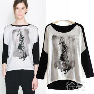 供应CL1208 春季新款 欧美风时尚百搭少女印花蝙蝠袖打底衫撞色T恤