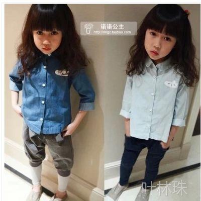 童装批发厂家直批 春款韩版休闲水洗牛仔男童女童长袖衬衫 T恤