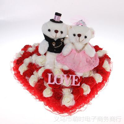 浪漫心形结婚婚庆用品 婚纱熊玫瑰情侣熊 婚车车头 婚车装饰